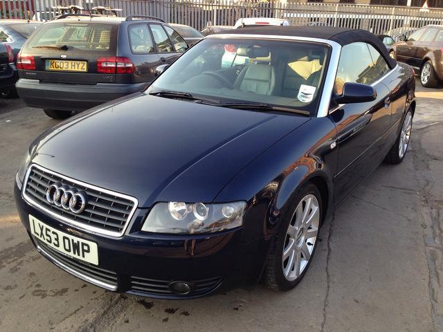 Used Audi A4 3.0 Sport 2 Door Multitronic Convertible Blue 2003 Petrol for Sale in UK