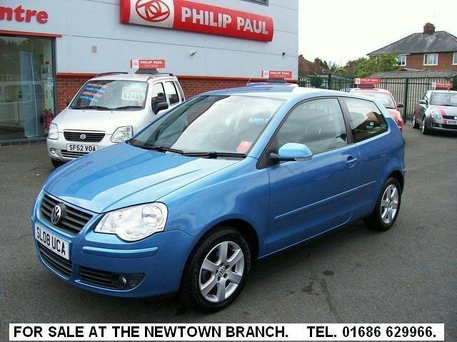 used volkswagen polo 2008 petrol 1 4 match 80 3dr hatchback blue automatic for sale in oswestry. Black Bedroom Furniture Sets. Home Design Ideas