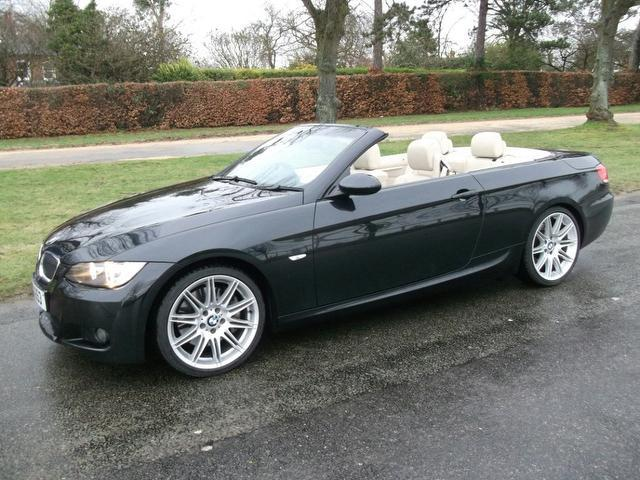 used bmw 3 series 2009 black paint petrol 335i m sport convertible for sale in newmarket uk. Black Bedroom Furniture Sets. Home Design Ideas